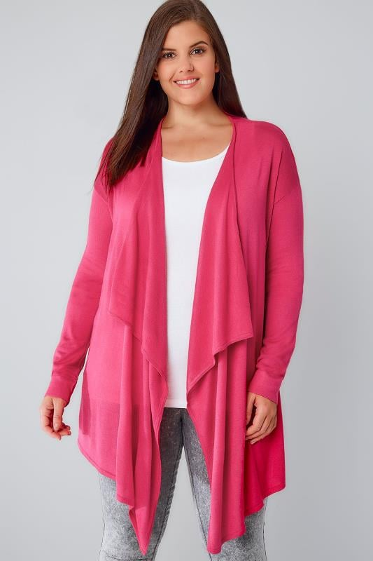 Hot Pink Fine Knit Waterfall Cardigan