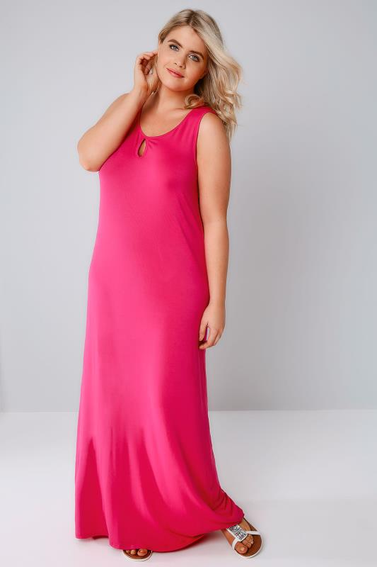 Hot Pink Jersey Maxi Dress With Keyhole Detail