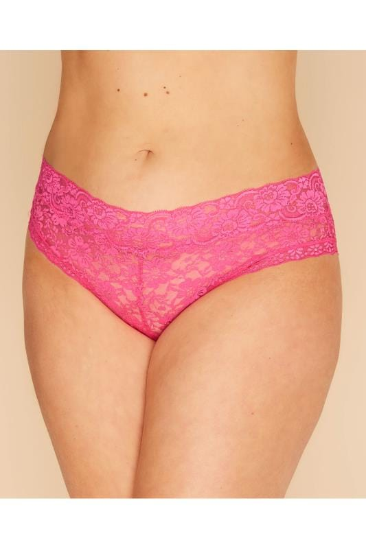 Plus Size Briefs Hot Pink Lace Briefs