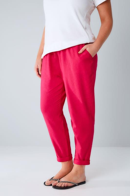 Grote maten linnen broeken Hot Pink Linen Mix Pull On Tapered Trousers With Pockets 142031