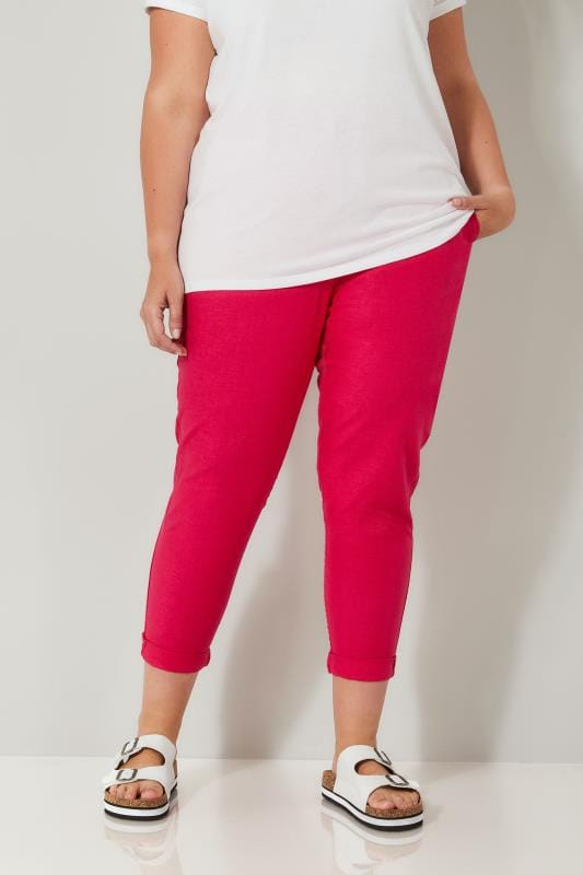 Plus Size Linen Mix Trousers Hot Pink Linen Mix Pull On Tapered Trousers With Pockets