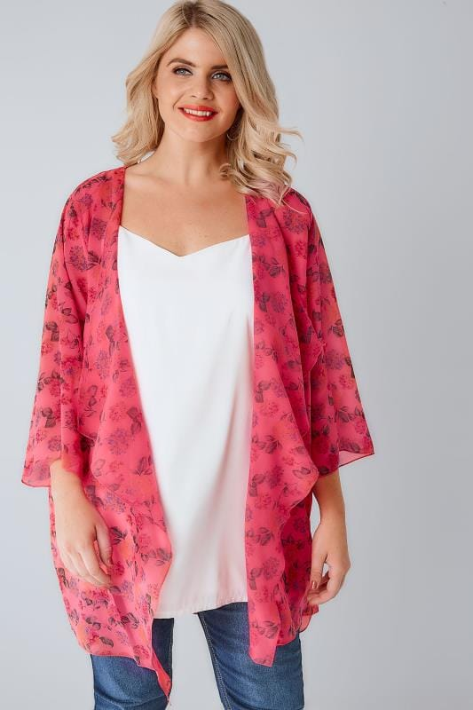Hot Pink & Multi Floral Print Chiffon Kimono With Waterfall Front
