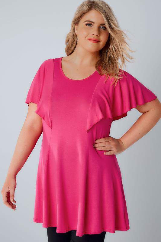 Plus Size Jersey Tops Hot Pink Peplum Top With Frill Angel Sleeves