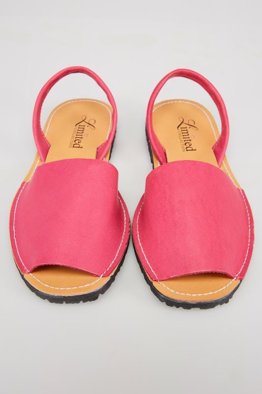 Hot Pink Real Leather Peep Toe Sandals In E Fit