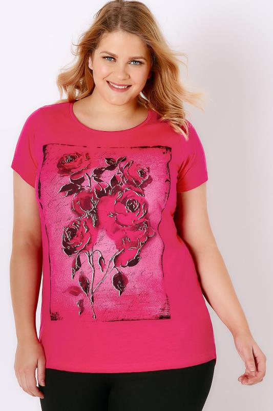 Hot Pink Floral Rose Print T-Shirt With Curved Hem