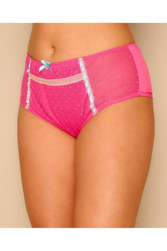 Hot Pink Spotted Mesh Brief With Blue Ribbon Detail