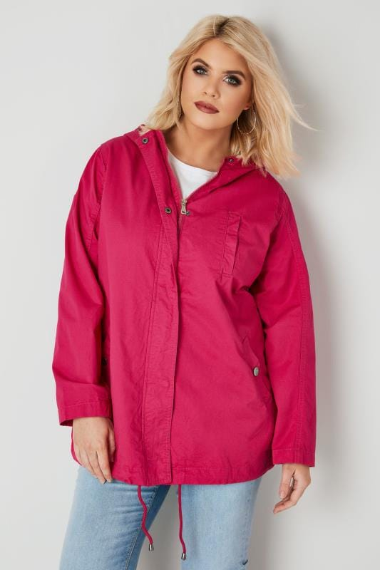Plus Size Parka Coats Hot Pink Twill Hooded Parka Jacket With Check Lining