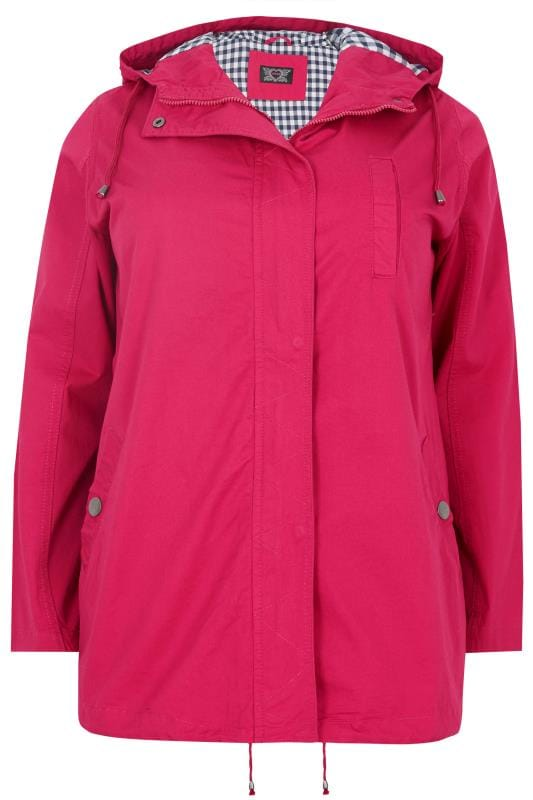 Parka Coats Hot Pink Twill Hooded Parka Jacket With Checked Lining 120093