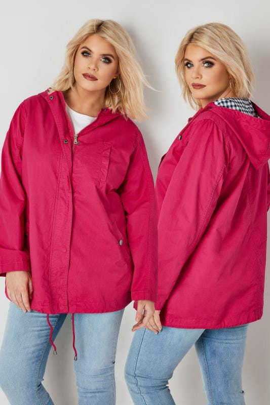 Plus Size Parka Coats Hot Pink Twill Hooded Parka Jacket With Checked Lining