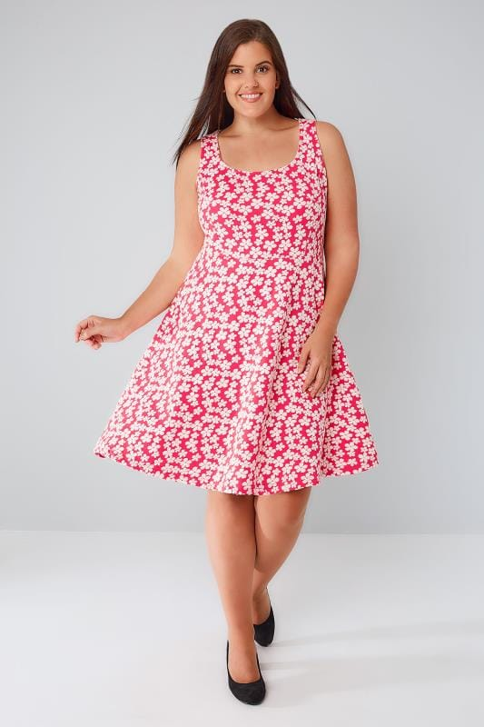 Hot Pink & White Daisy Floral Print Skater Dress