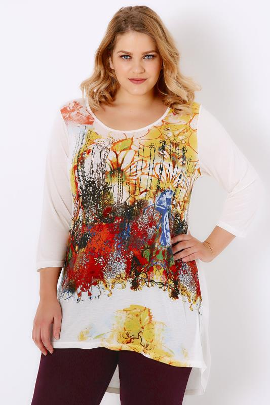 Ivory & Yellow Abstract Floral Print Jersey Top With Dipped Hem