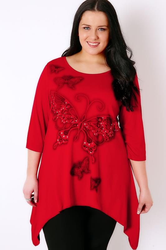 IVANS Red Top With Butterfly & Glittery Star Print
