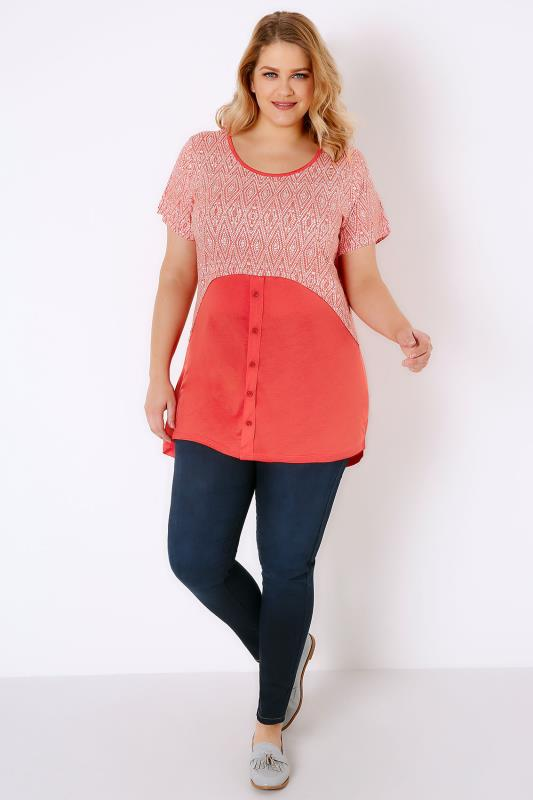 Red & White Print Colour Block Top With Button Detail