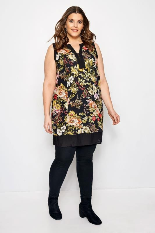 Plus Size Black Dresses IZABEL CURVE Black Floral Tunic Dress