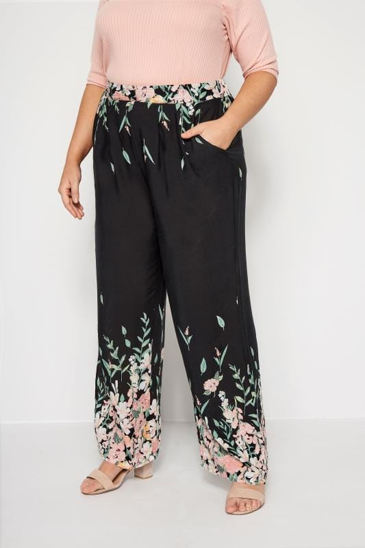 Plus Size Wide Leg & Palazzo Trousers IZABEL CURVE Black Floral Wide Leg Trousers