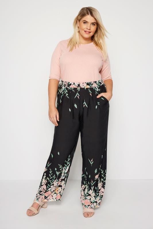 IZABEL CURVE Black Floral Wide Leg Trousers