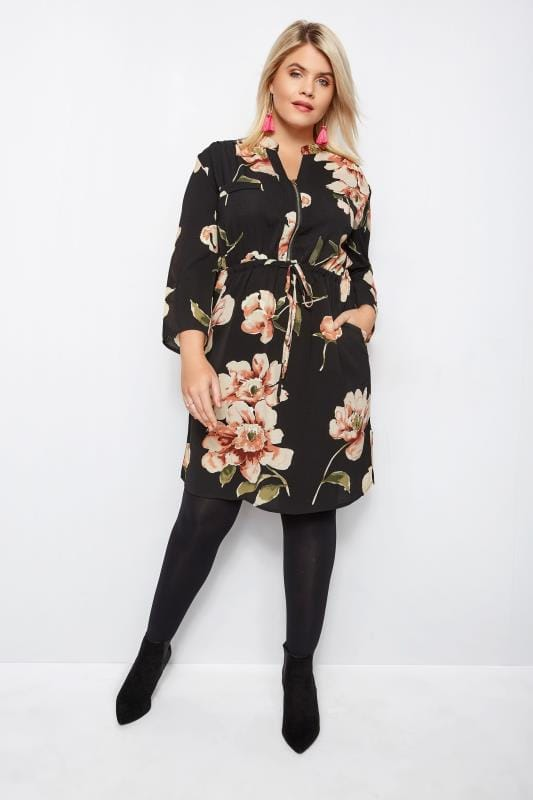 IZABEL CURVE Black & Peach Floral Shirt Dress