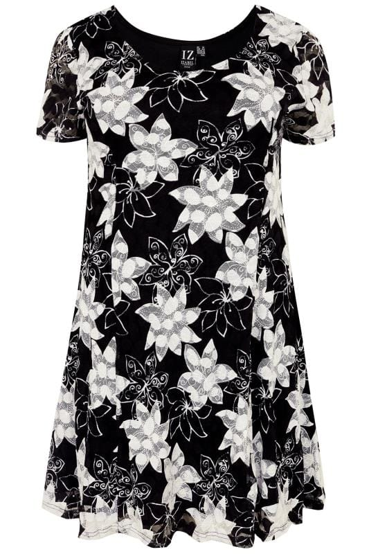 Plus Size Tunics IZABEL CURVE Black & White Floral Tunic Dress