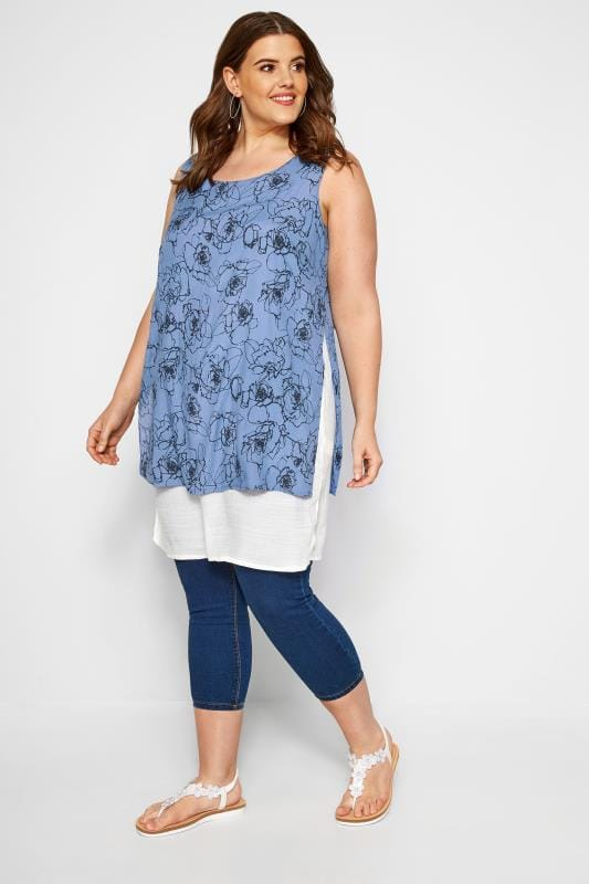 IZABEL CURVE Blue Layered Tunic Top