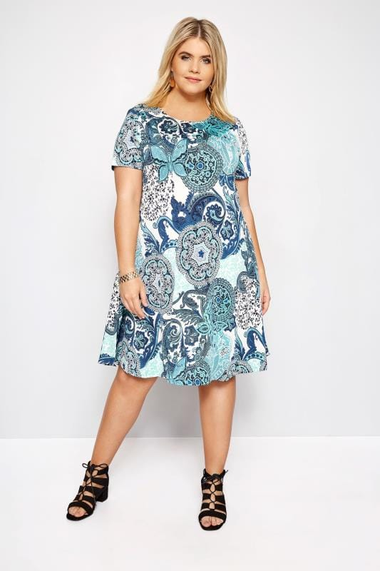 IZABEL CURVE Blue Paisley Dress
