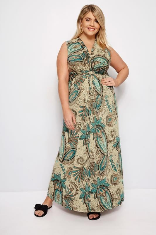 Plus Size Maxi Dresses IZABEL CURVE Brown Paisley Maxi Dress