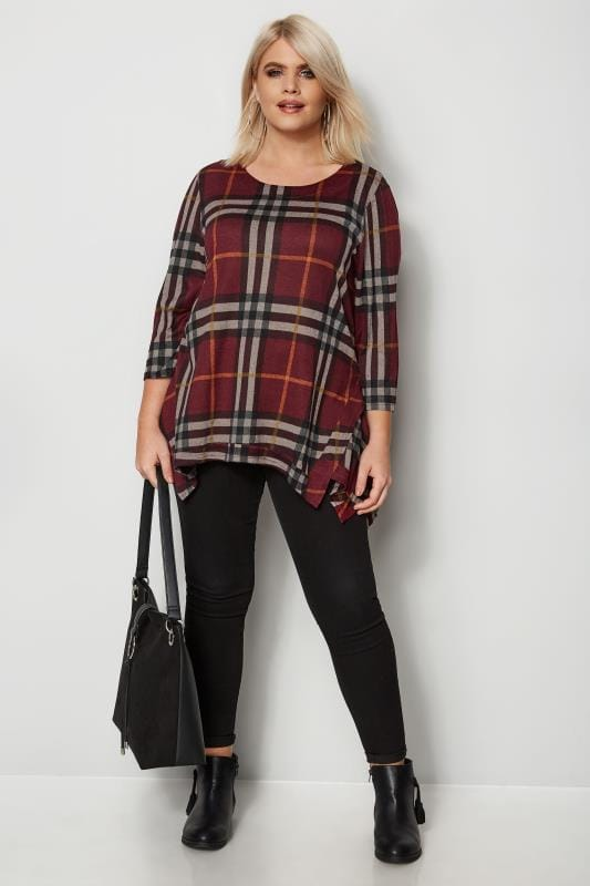 IZABEL CURVE Dark Red Check Top With Hanky Hem