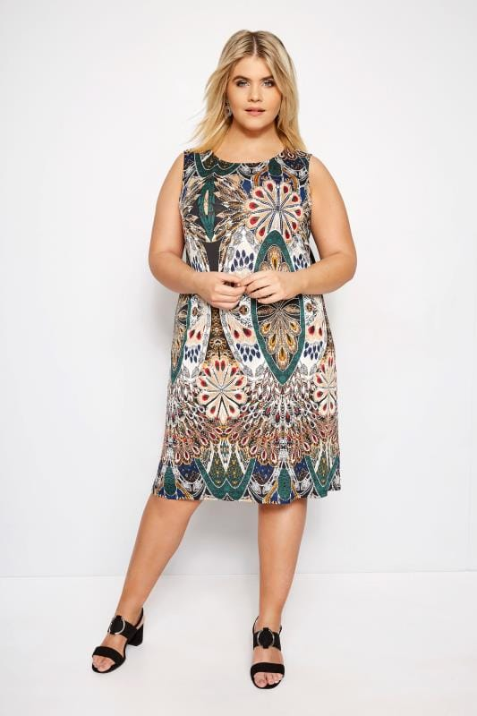 IZABEL CURVE Green Paisley Zip Back Dress