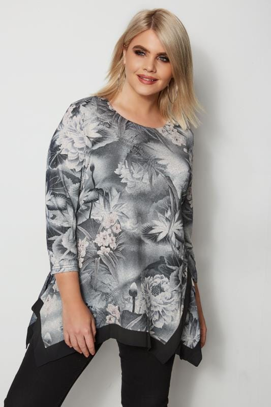 Plus Size Day Tops IZABEL CURVE Grey Floral Hanky Hem Top