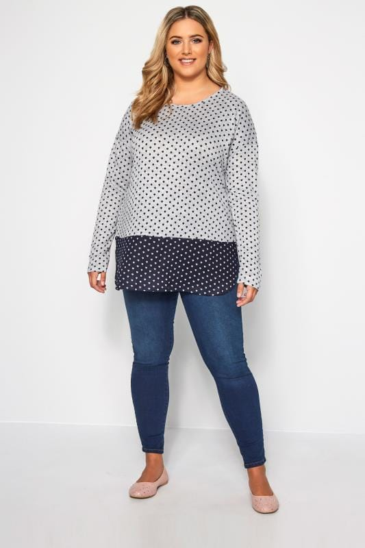 IZABEL CURVE Grey & Navy Spotted Knitted Top