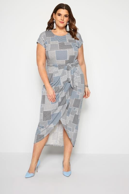 Plus Size Jersey Dresses IZABEL CURVE Grey Patchwork Dress