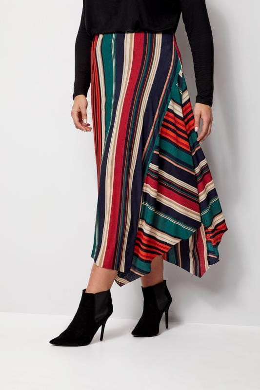 Plus Size Midi Skirts IZABEL CURVE Multi Stripe Skirt