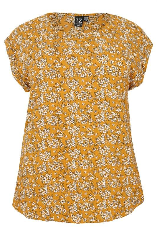 Plus Size Day Tops IZABEL CURVE Mustard Floral Top