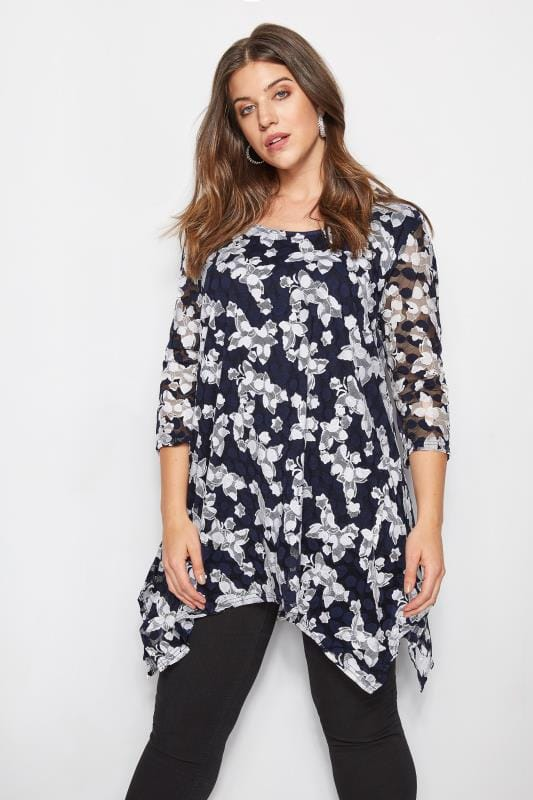 Plus Size Day Tops IZABEL CURVE Navy Butterfly Top
