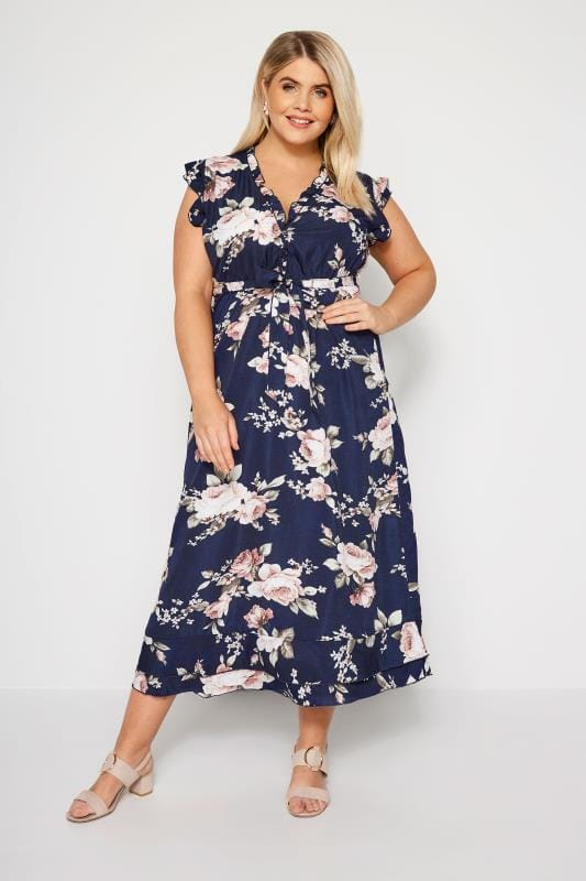 Plus Size Floral Dresses IZABEL CURVE Navy Floral Maxi Dress