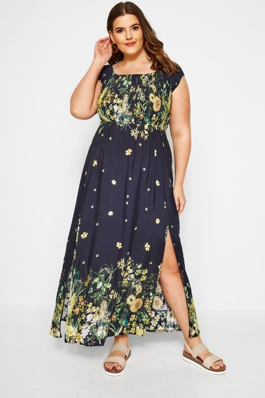 Plus Size Maxi Dresses IZABEL CURVE Navy Floral Maxi Dress