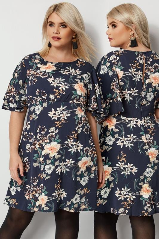 Plus Size Tunic Dresses IZABEL CURVE Navy Floral Tea Dress