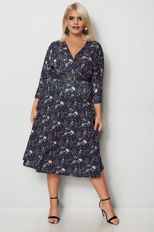 IZABEL CURVE Navy Floral Wrap Dress