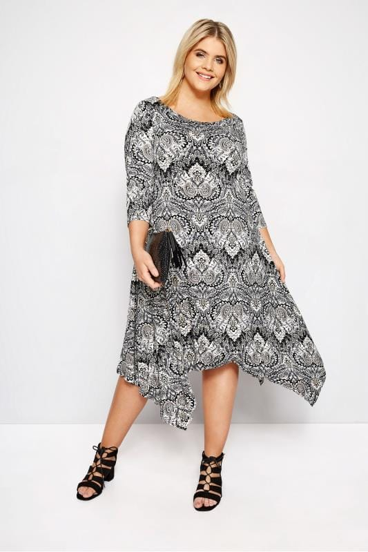 Plus Size Swing Dresses IZABEL CURVE Paisley Hanky Hem Dress