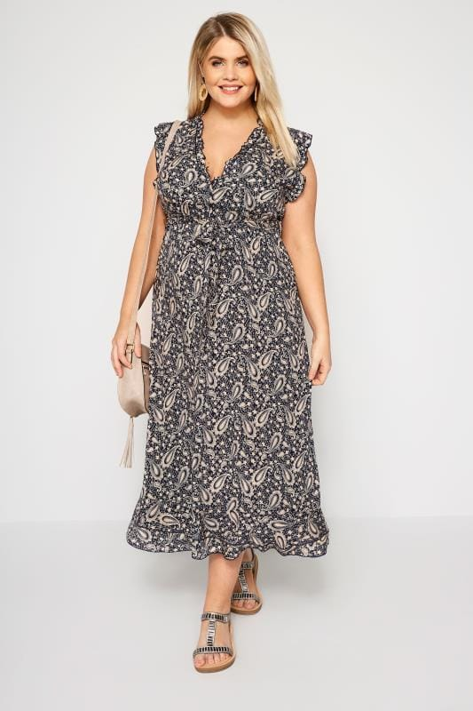 Plus Size Maxi Dresses IZABEL CURVE Navy Paisley Maxi Dress