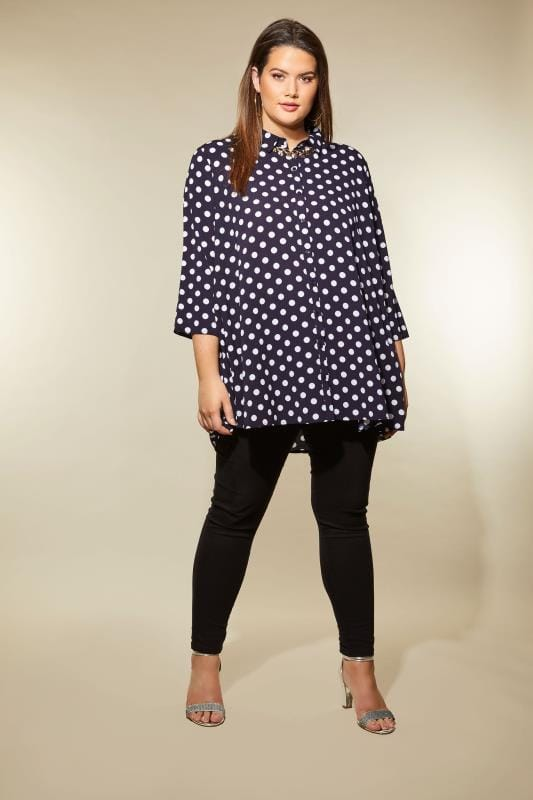 Plus Size Shirts IZABEL CURVE Navy Polka Dot Shirt