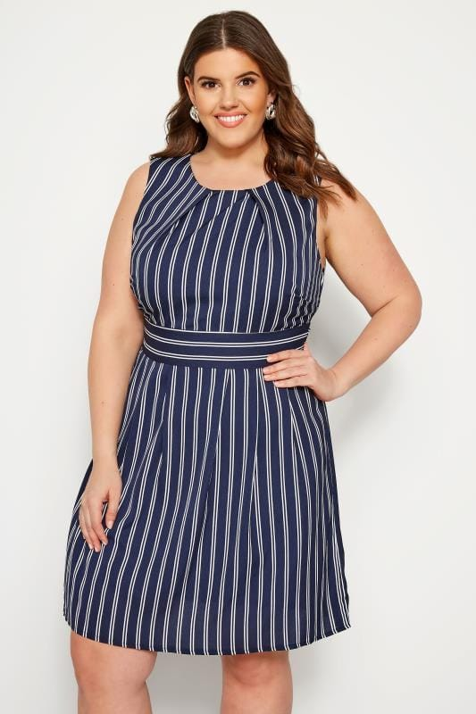 IZABEL CURVE Navy Stripe Skater Dress