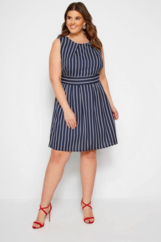 Plus Size Chiffon Dresses IZABEL CURVE Navy Stripe Skater Dress