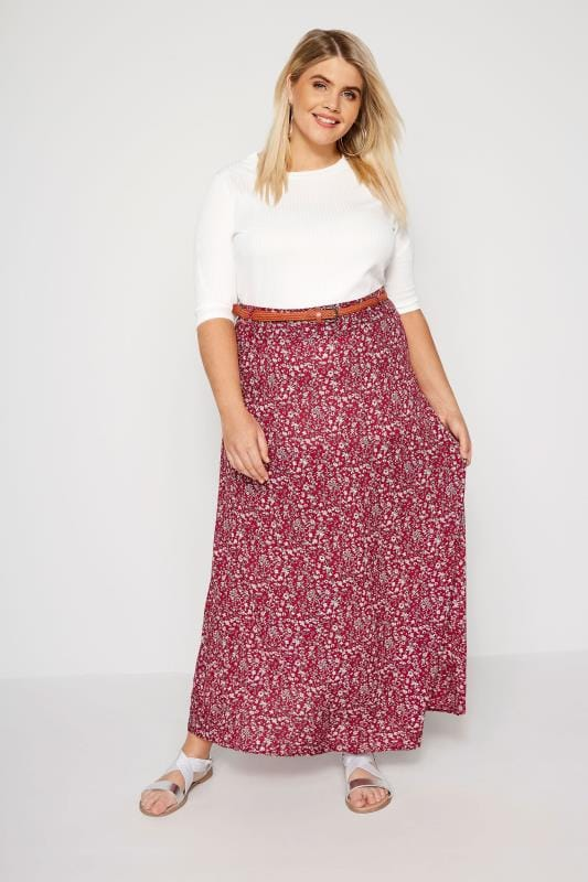 Plus Size Maxi Skirts IZABEL CURVE Red Floral Belted Maxi Skirt