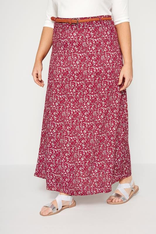 IZABEL CURVE Red Floral Belted Maxi Skirt