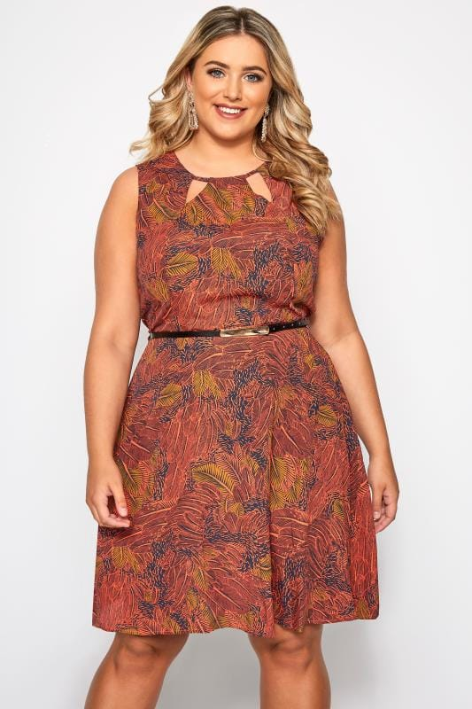 Plus Size Skater Dresses IZABEL CURVE Red Leaf Print Belted Skater Dress