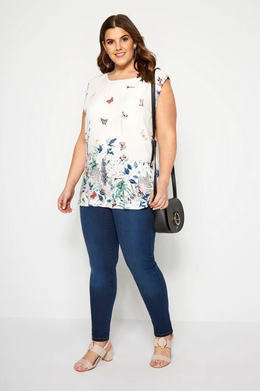IZABEL CURVE White Butterfly Blouse