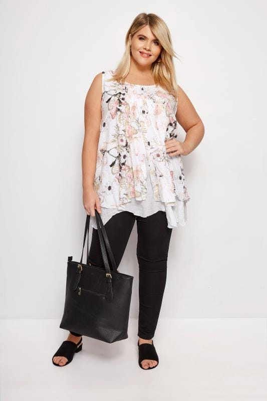 IZABEL CURVE White Floral Layered Top