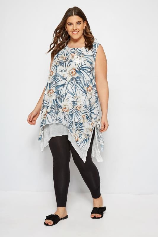 IZABEL CURVE White Floral Tunic Dress