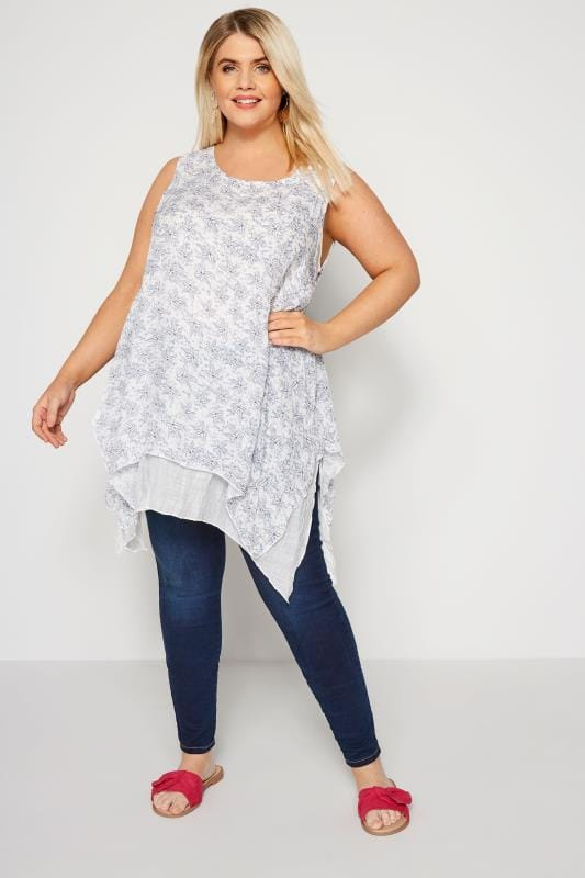 IZABEL CURVE White Leaf Hanky Hem Top