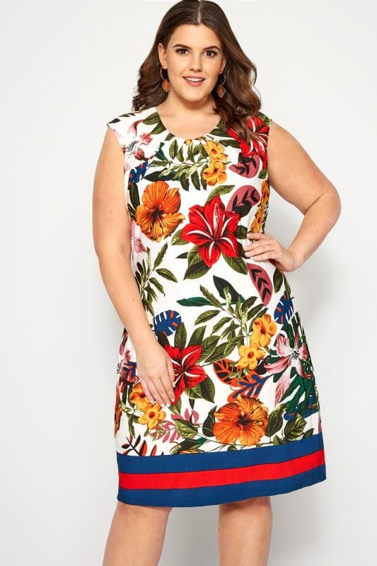 Plus Size Floral Dresses IZABEL CURVE White Tropical Shift Dress
